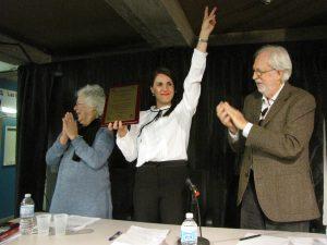 Lucie Jobin, présidente du Mlq, Djemila Benhabib et Michel Lincourt, administrateur du Mlq