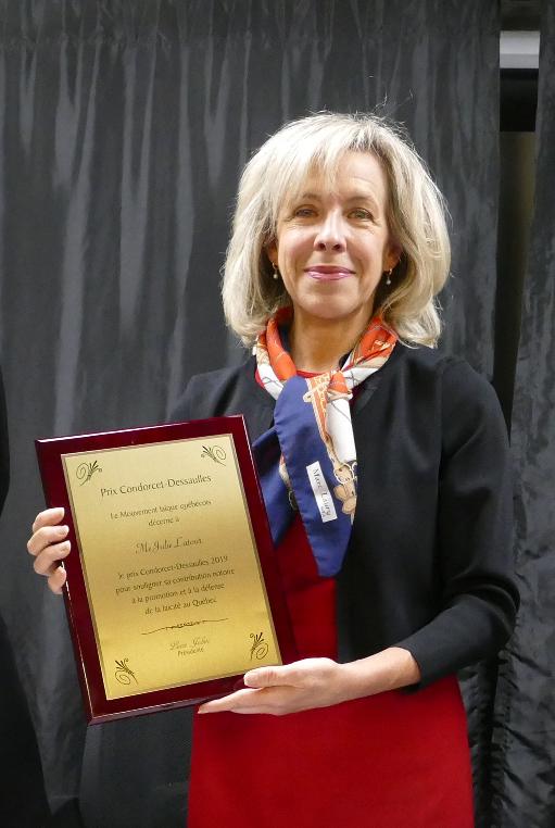 Julie Latour reçoit le prix Condorcet-Dessaulles 2019